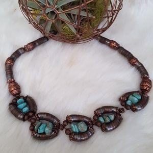 Antique Tibetan Turquoise Copper Necklace
